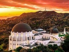 Griffith Observatory and the Hollywood Sign at sunset