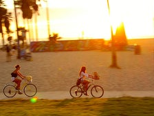 Biking Venice Beach at sunset