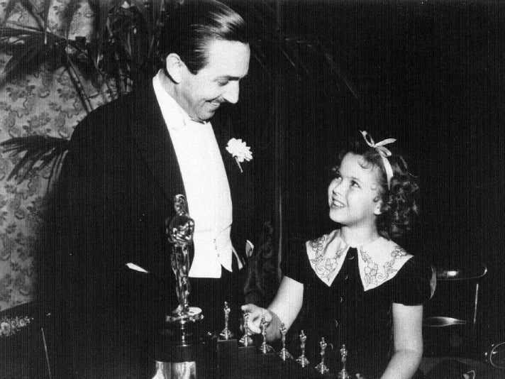 Walt Disney and Shirley Temple at the 1939 Oscars