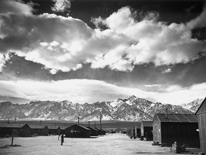 "Ansel Adams, ""Manzanar Street Scene, Spring,"" 1943 [detail]. Gelatin silver print (printed 1984). Private collection; courtesy of Photographic Traveling Exhibitions."