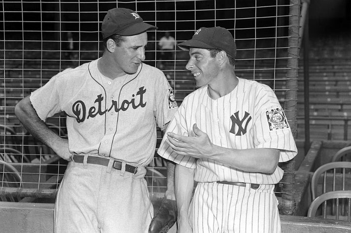 "Photo of Hank Greenberg and Joe DiMaggio from ""Chasing Dreams"" at Skirball Cultural Center"