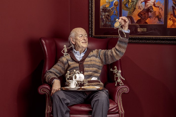 "Ray Harryhausen sculpture by Mike Hill at ""Guillermo del Toro: At Home with Monsters,"" LACMA"