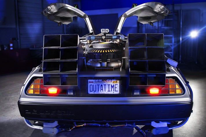 "Rear view of the ""Back to the Future"" DeLorean at Petersen Automotive Museum"