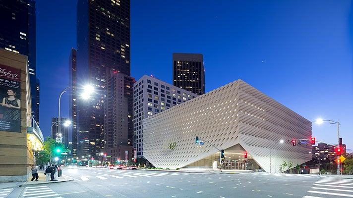 The Broad museum, exterior view on Grand Avenue at night