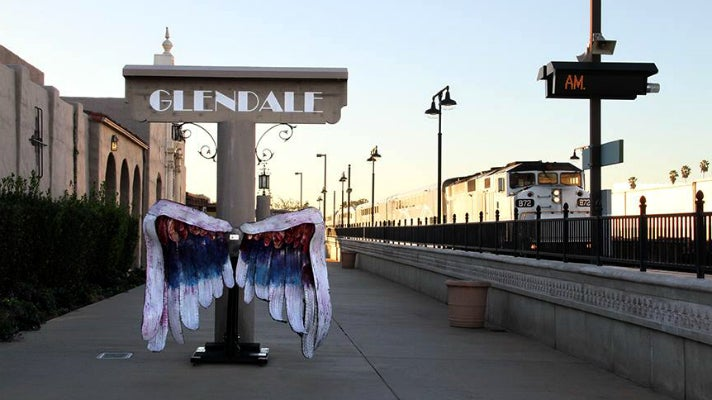 Angel wings installation at Glendale Transportation Center