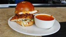 Fried chicken sandwich at Akasha