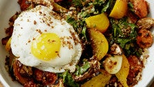 Huckleberry roasted root vegetables with egg