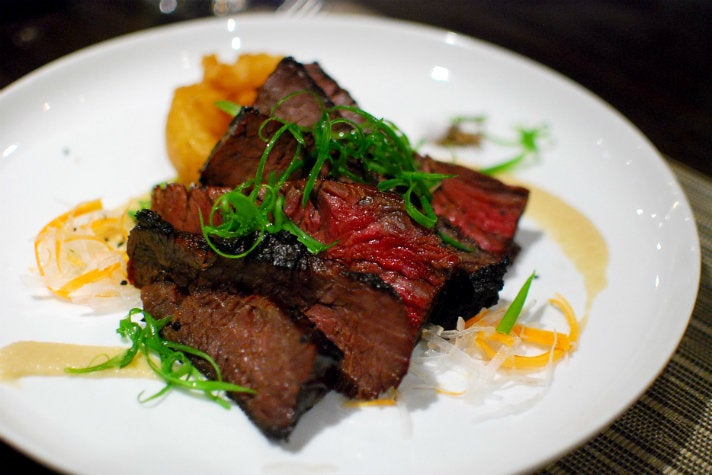 Hanger steak at Wilshire Restaurant