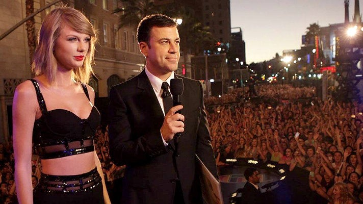 Taylor Swift and Jimmy Kimmel on Hollywood Boulevard