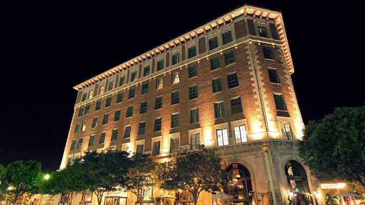 Culver Hotel exterior at night