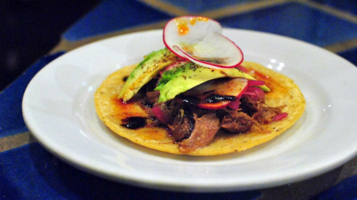 Duck carnitas taco at CaCao Mexicatessen