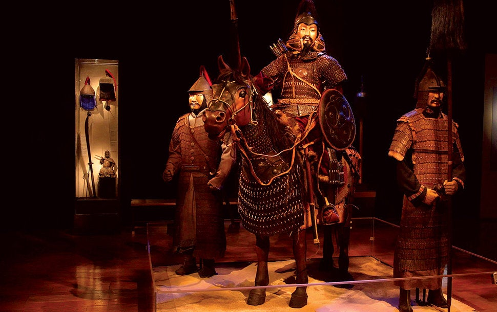 """Mongolian armored warrior and horse from """"Genghis Khan"""" at the Reagan Library"""